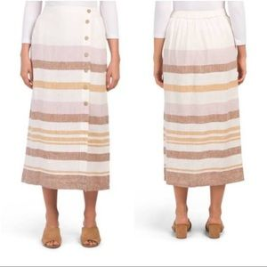 Rachel Zoe Striped 100% Linen Button Down Skirt